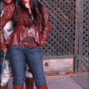 Brown button flair leather jacket